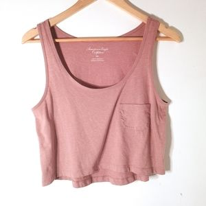 ⭐2/$15 American Eagle pink crop top w/ pocket